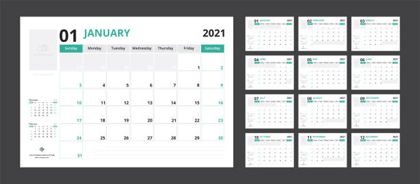 2021 calendar planner set for template corporate design week start on Sunday. 2021 calendar planner set for template corporate design week start on Sunday. holiday calendars stock illustrations