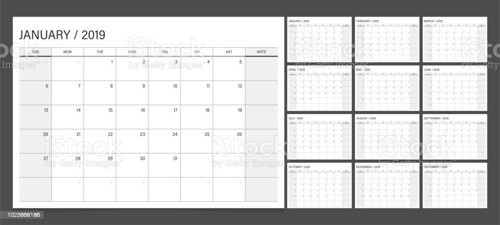 2019 calendar planner set week start Sunday corporate design template vector. royalty-free 2019 calendar planner set week start sunday corporate design template vector stock illustration - download image now