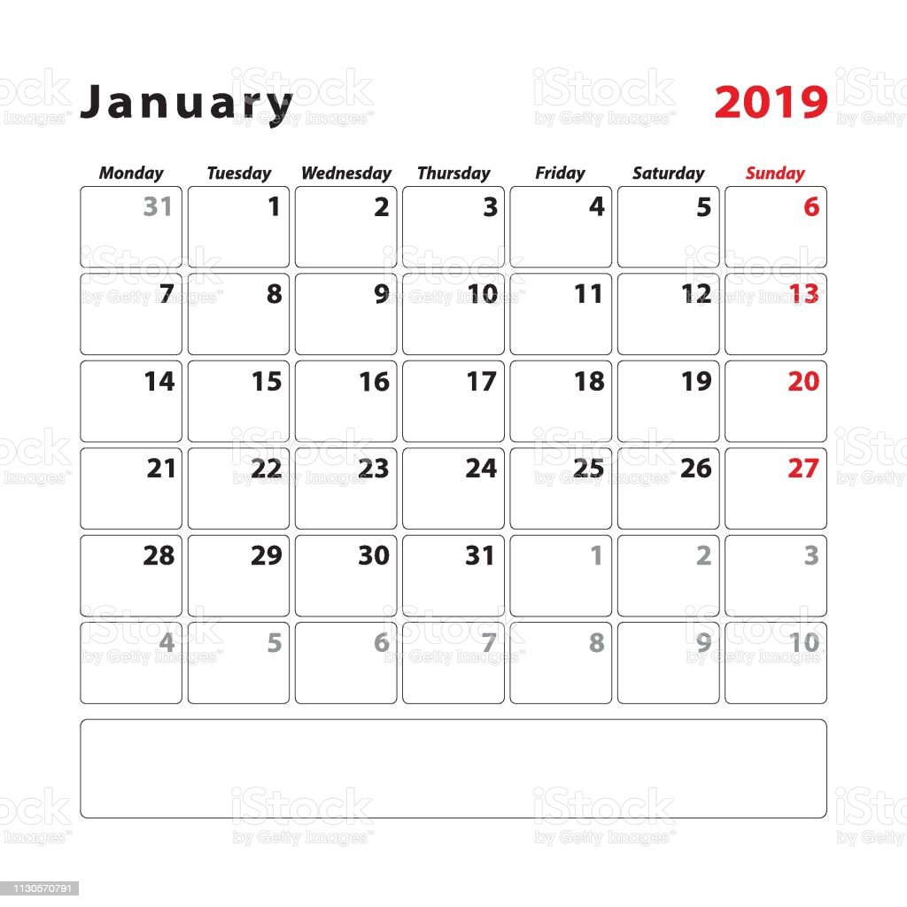 photo relating to Week Planner Sheet called Calendar Planner Sheet For The Thirty day period Of January 2019 7 days