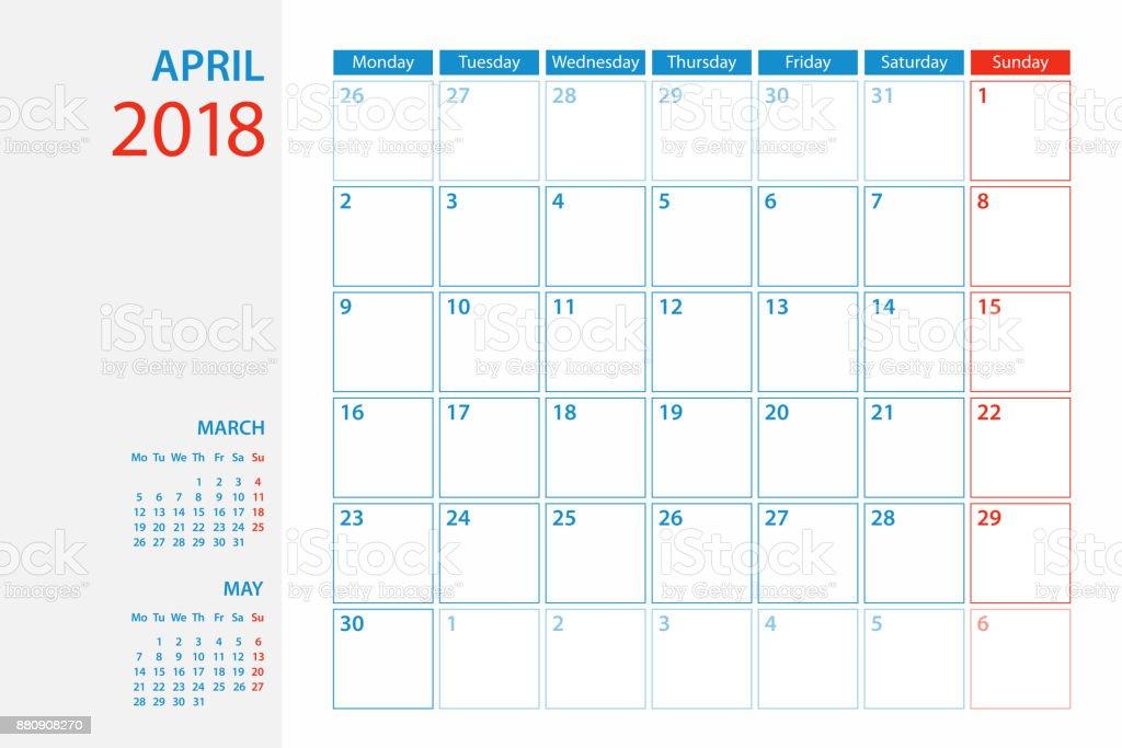 Planerkalender Vorlage 2018 April Woche Beginnt Am Montag Stock ...