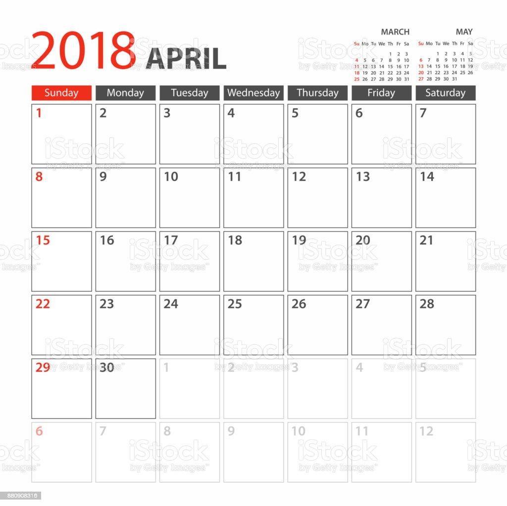 Planerkalender Vorlage 2018 April Woche Beginnt Sonntag Stock Vektor ...
