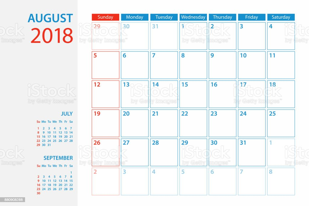 Calendar Planner Template 2018 August Week Starts Sunday Stock
