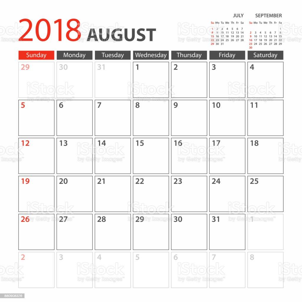 Planerkalendervorlage 2018 August Woche Beginnt Sonntag Stock Vektor ...