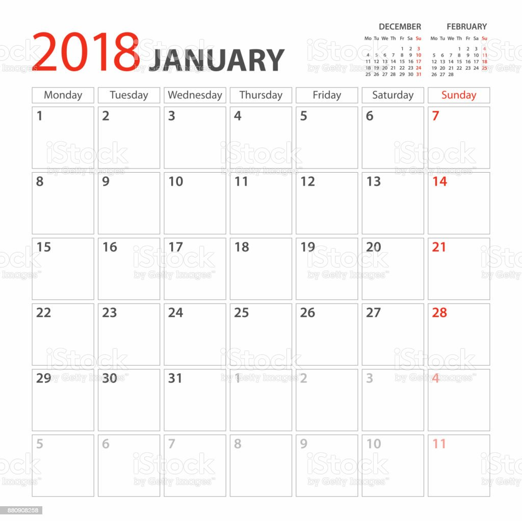 Calendar Planner Template 2018 January Week Starts Monday Stock .  One Week Planner Template