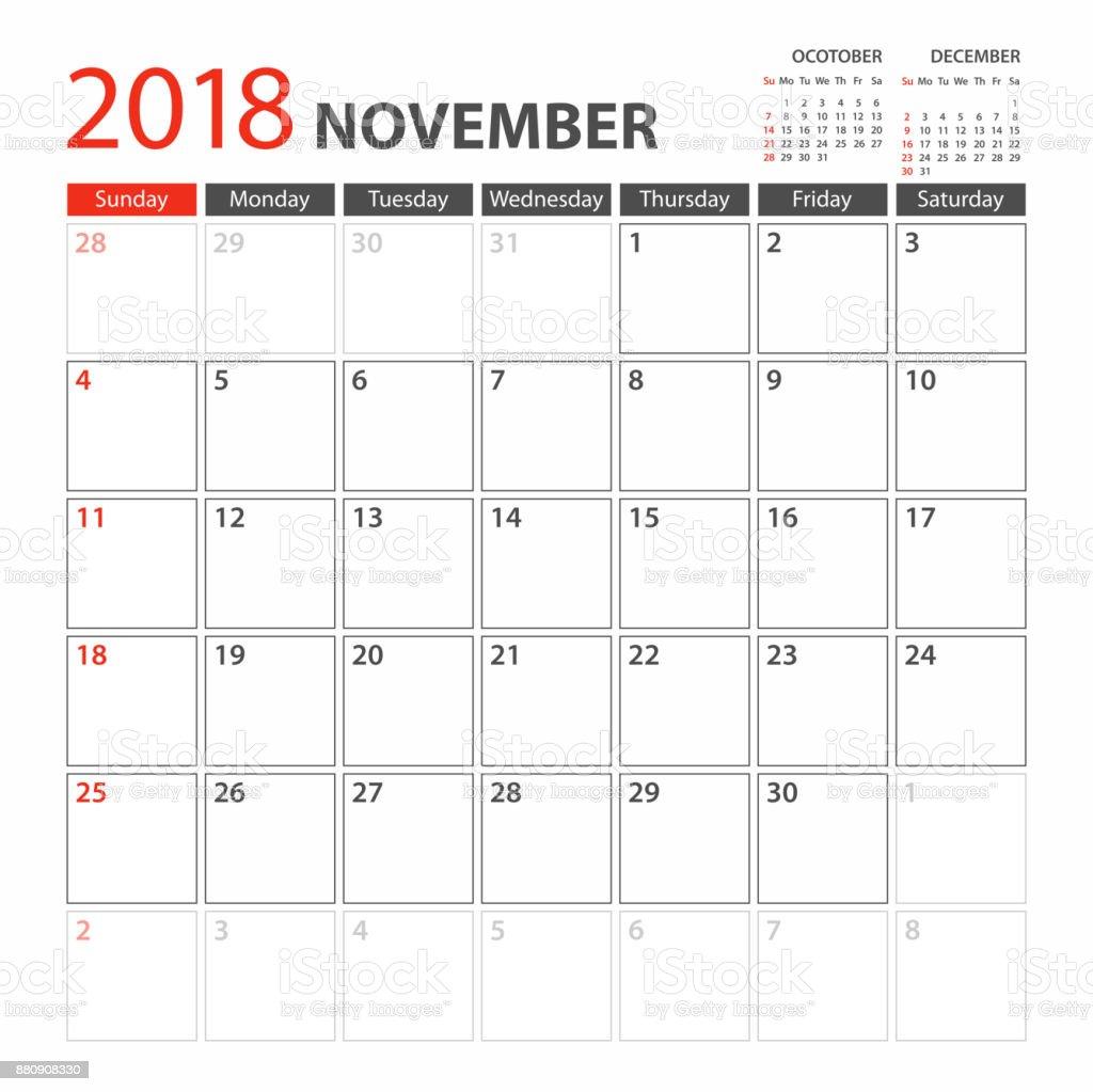 Calendar Planner Template 2018 November. Week starts Sunday vector art illustration