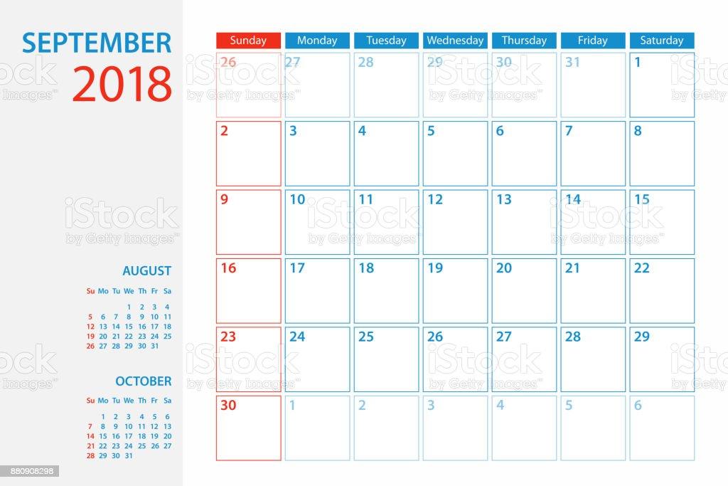Calendar Planner Template 2018 September. Week starts Sunday vector art illustration