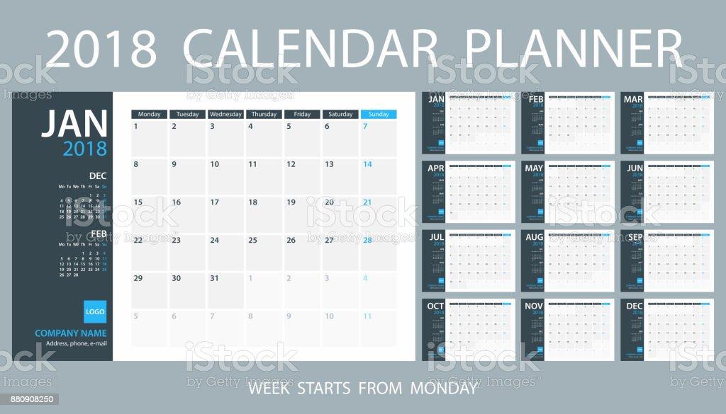 Calendar Planner Template 2018. Week starts Monday vector art illustration