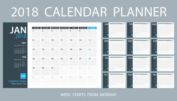 planer-kalendervorlage 2018. woche beginnt am montag - monatskalender stock-grafiken, -clipart, -cartoons und -symbole