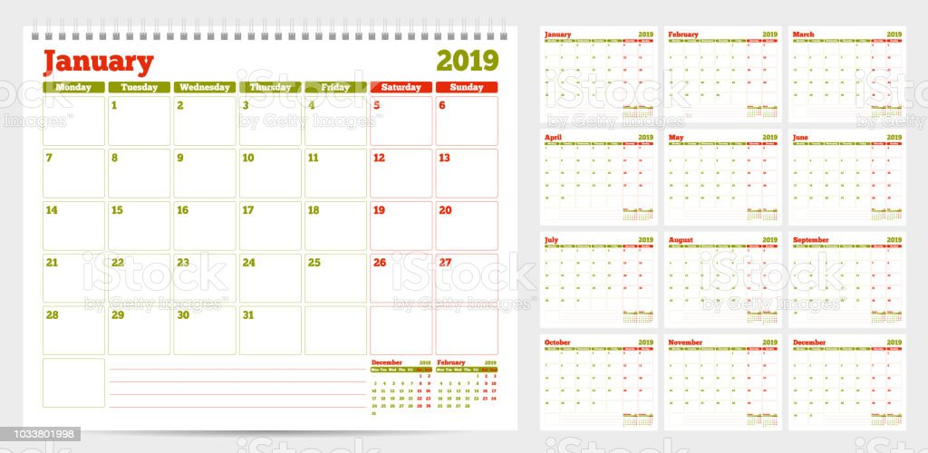 Calendar Planner Template 2019 Week Start From Monday Stock Vector