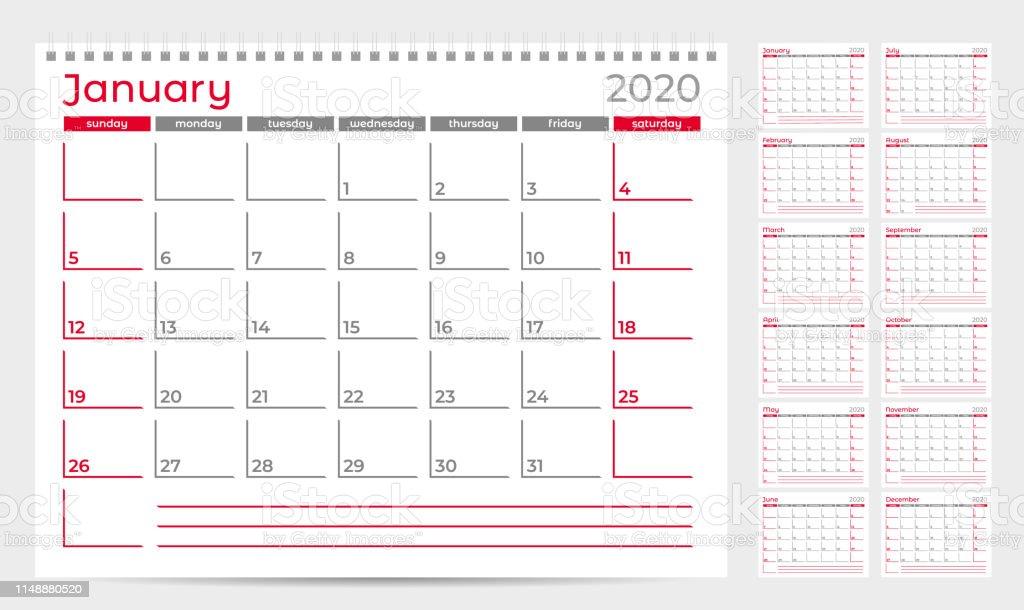 Calendar Planner Template 2020 Week Start From Sunday Set Of 12