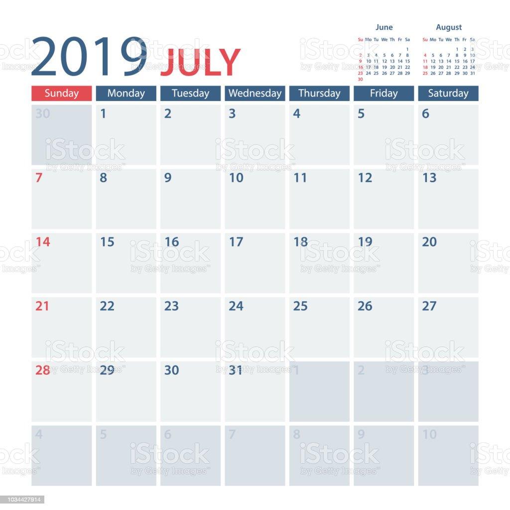 Kalender juli august 2019