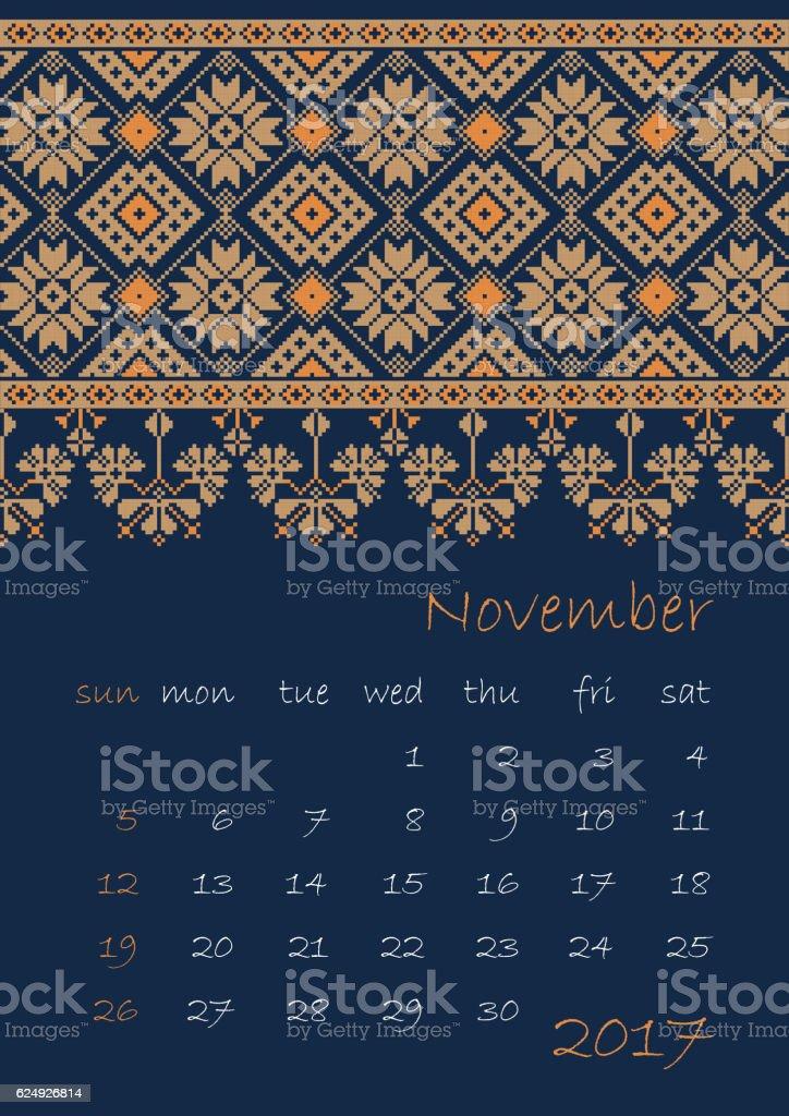 2017 Calendar planner with ethnic cross-stitch ornament Week starts on vector art illustration