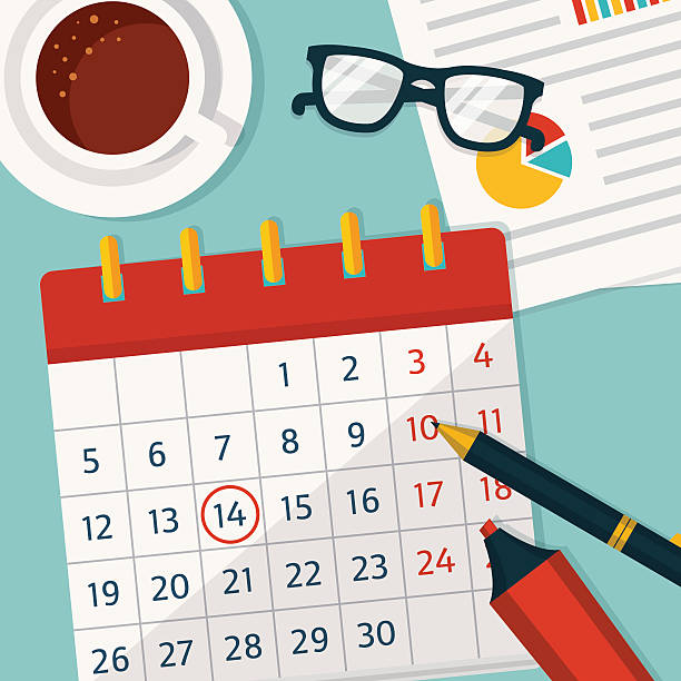 kalender planung. vektor konzept hintergrund. - tischkalender stock-grafiken, -clipart, -cartoons und -symbole