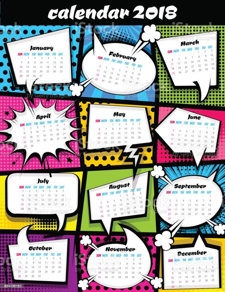2018 calendar pop art template vector art illustration
