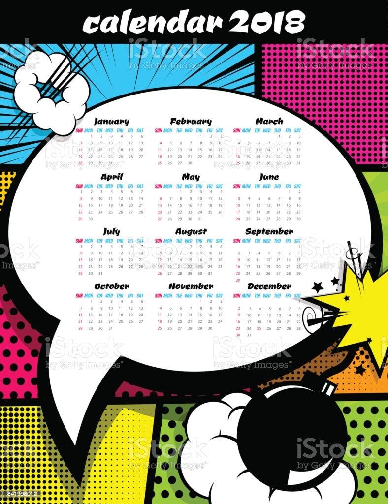 Plantilla De Arte Pop Calendario 2018 - Arte vectorial de stock y ...