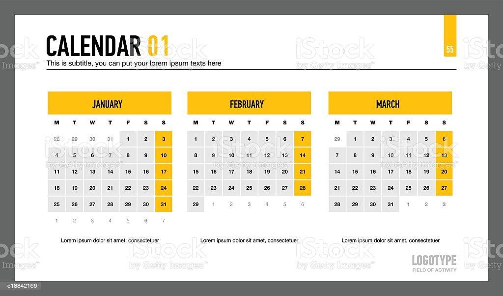 Calendar Organization Number : Calendar presentation slide stock vector art more images