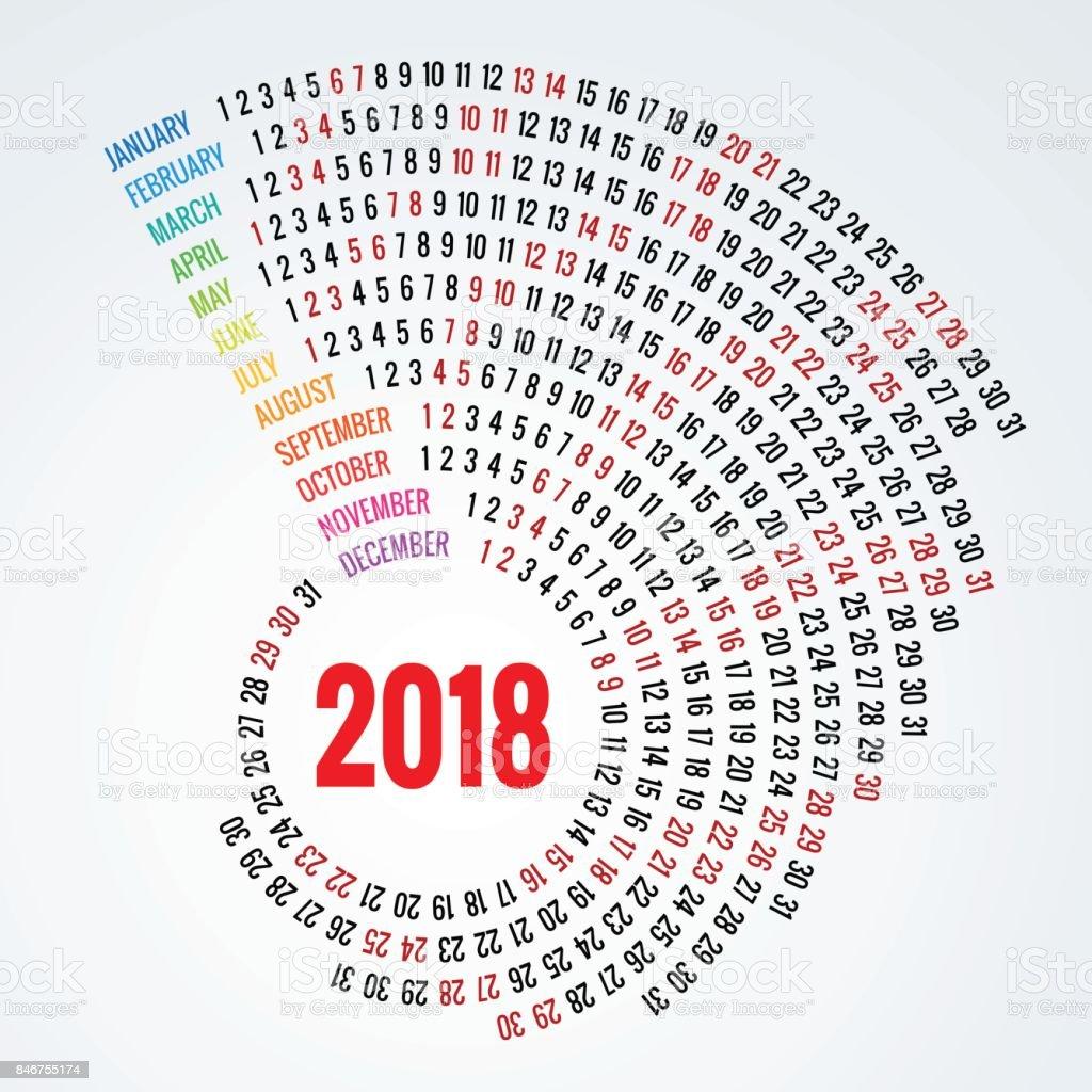 2018 calendar Print Template Spiral calendar Set of 12 Months Round Planner for 2018 Year. vector art illustration