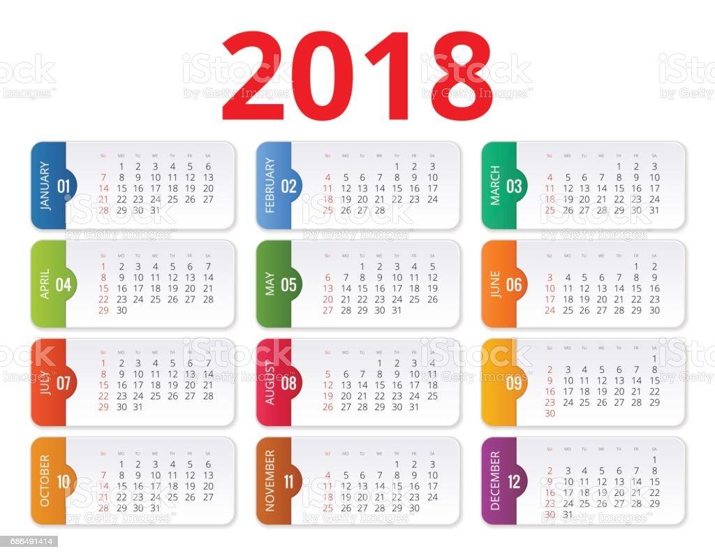 2018 calendar. Print Template. Week Starts Sunday. Portrait Orientation. Set of 12 Months. Planner for 2018 Year. vector art illustration