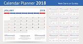 2018 calendar Print Template Week Starts Sunday Portrait Orientation Set of 12 Months Planner for 2018 Year.