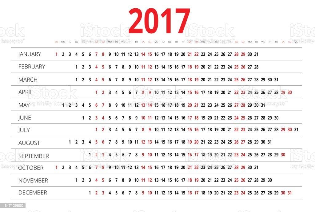 Calendrier 2017 Imprimer Le Gabarit La Semaine Commence Dimanche