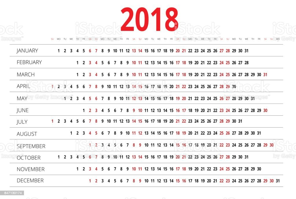 Calendrier 2018 Imprimer Le Gabarit La Semaine Commence Dimanche