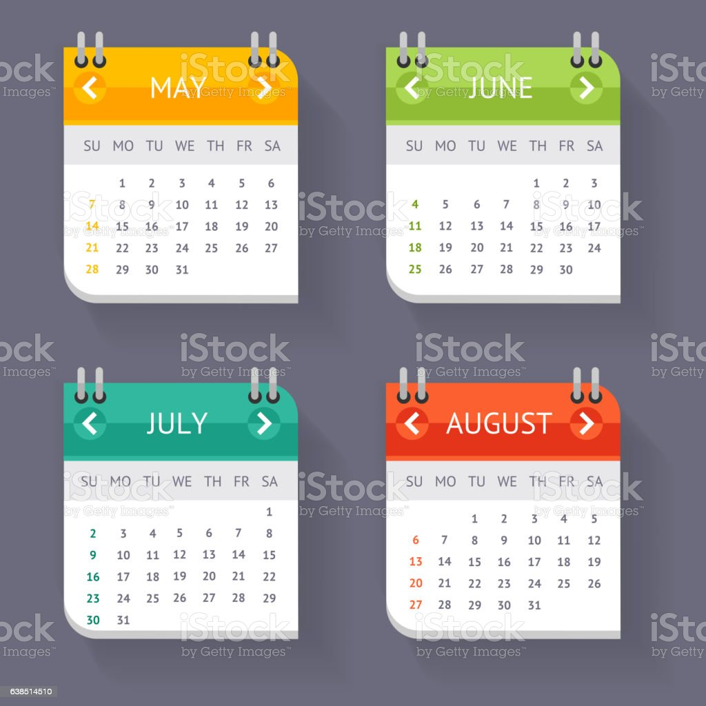 Calendar Quarter Month Set. Vector vector art illustration