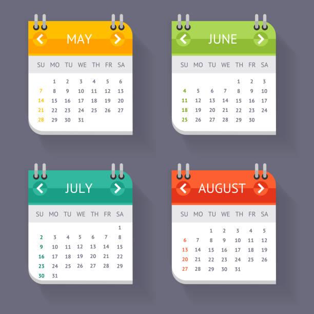 Calendar Quarter Month Set. Vector vector art illustration