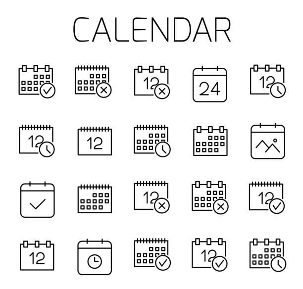 ilustraciones, imágenes clip art, dibujos animados e iconos de stock de calendario relacionado con el conjunto de iconos de vector. - calendario abstracto