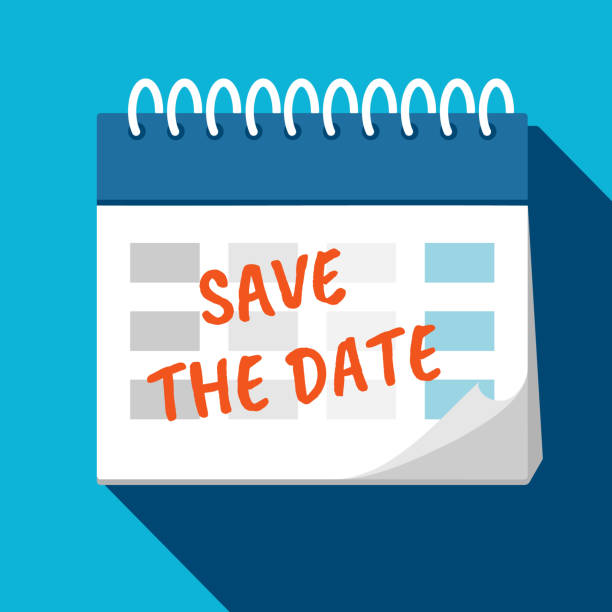 stockillustraties, clipart, cartoons en iconen met kalender-sla de datum op. planning. time management. - save the date