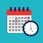 istock Calendar schedule and clock icon. Time appointment, reminder date concept. Flat organizer, timesheet, time management with alarm clock. Calendar and timer for business, shool, event holiday. vector 1182012394