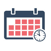 Calendar schedule flat icon, vector design with clock on background