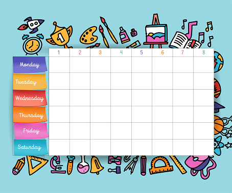Calendar schedule with stickers. School planning or scheduling work. Vector volume illustration. Vector Template School timetable for students and pupils. hand drawn elements of school supplies.