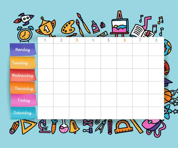 stockillustraties, clipart, cartoons en iconen met kalender schema met stickers. school planning of planning werk. vector volume afbeelding. vector sjabloon school tijdschema voor studenten en leerlingen. hand getekende elementen van schoolbenodigdheden. - vluchtschema