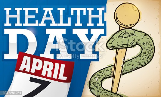 istock Calendar, Scroll and Asclepius Rod Drawing promoting Health Day Celebration 1217281074