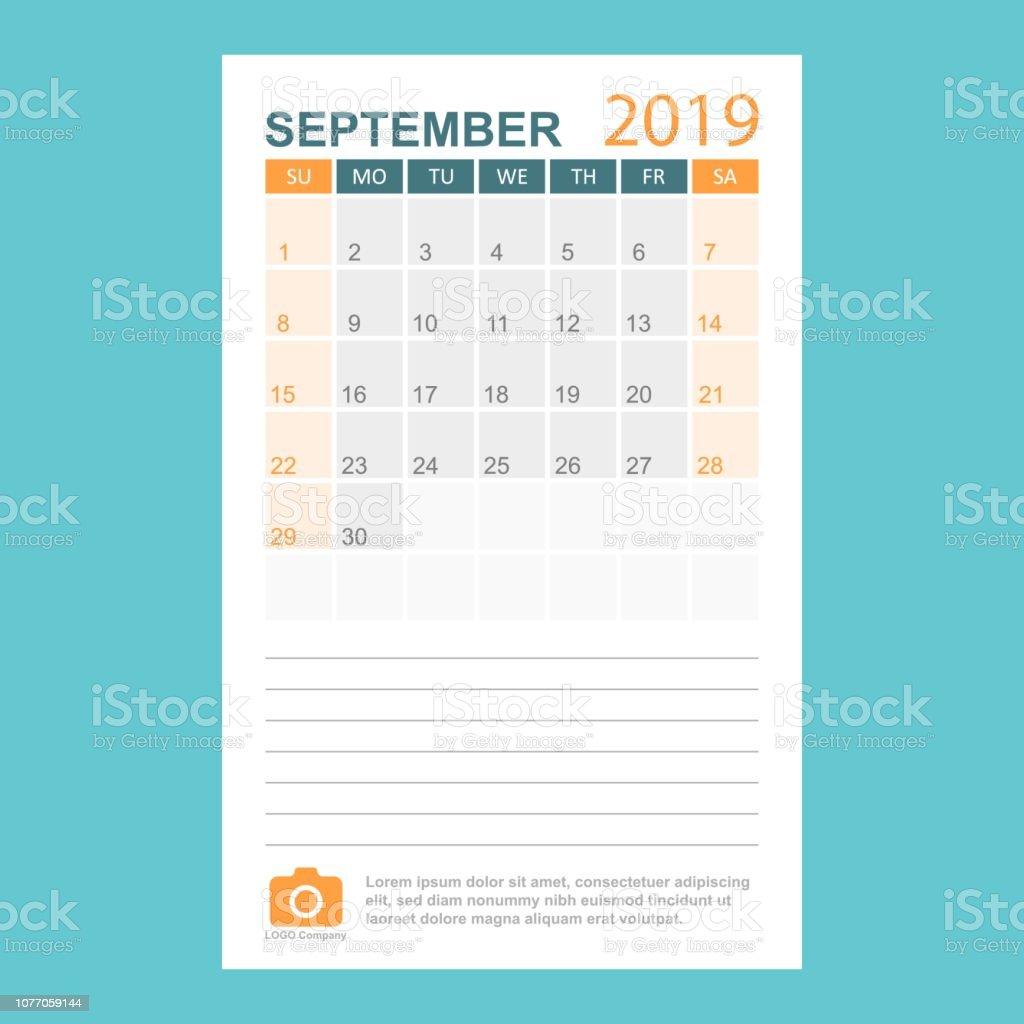 Calendar Planner September 2019.Calendar September 2019 Year In Simple Style Calendar Planner Design Template Agenda Monthly September Template With Company Logo Business Vector