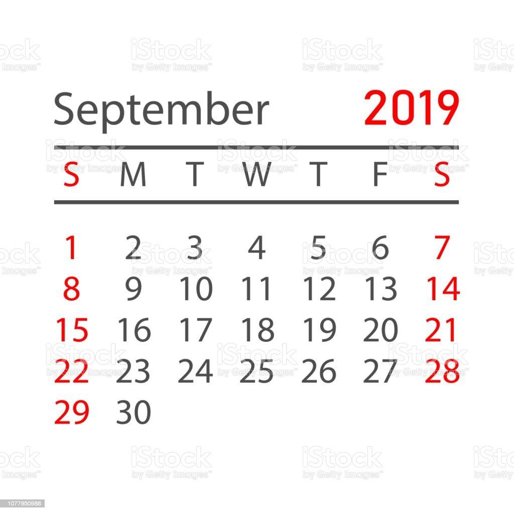 Calendar Planner September 2019.Calendar September 2019 Year In Simple Style Calendar Planner Design
