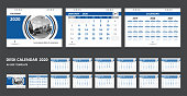 2020 calendar. Set desk calendar for template corporate design. Week start on Sunday.