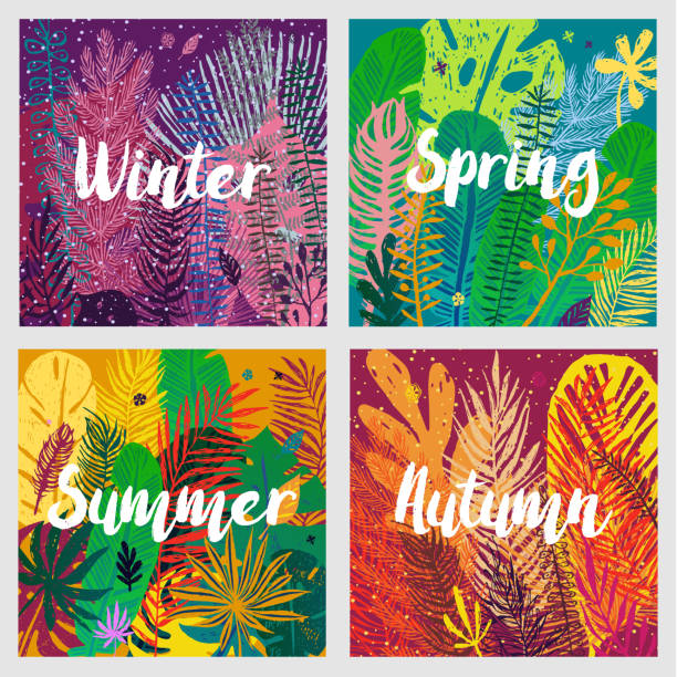 ilustraciones, imágenes clip art, dibujos animados e iconos de stock de calendario, sistema de fondo de temporadas con hojas de colores de moda. - calendario de naturaleza