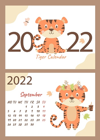 2022 calendar. Set September and cover. Cute tiger in a wreath of autumn leaves and a cup in a paw. horizontal A4 template. Week starts on Monday. Year of the Tiger in Chinese or oriental