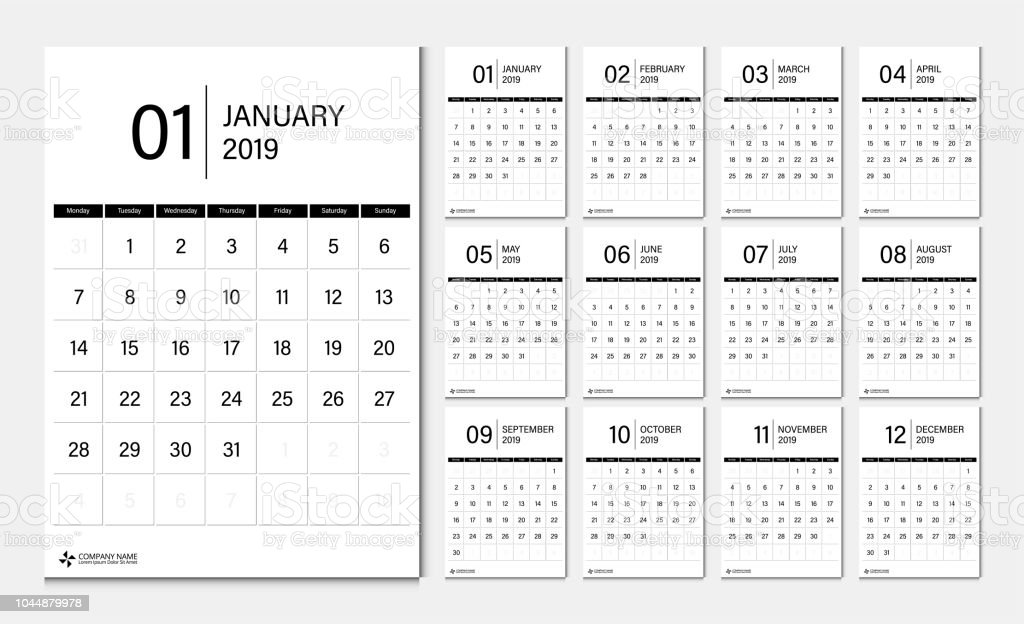 Semaine 2019 Calendrier.2019 Calendrier Fixe Debut De Semaine Lundi Corporate Design