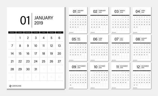 stockillustraties, clipart, cartoons en iconen met 2019 kalender instellen week start maandag huisstijl sjabloon vector. - december