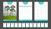 2019 calendar set week start Sunday corporate design template vector. Desk calendar planner A5 size.