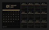 2019 calendar set week start Sunday corporate design template vector.