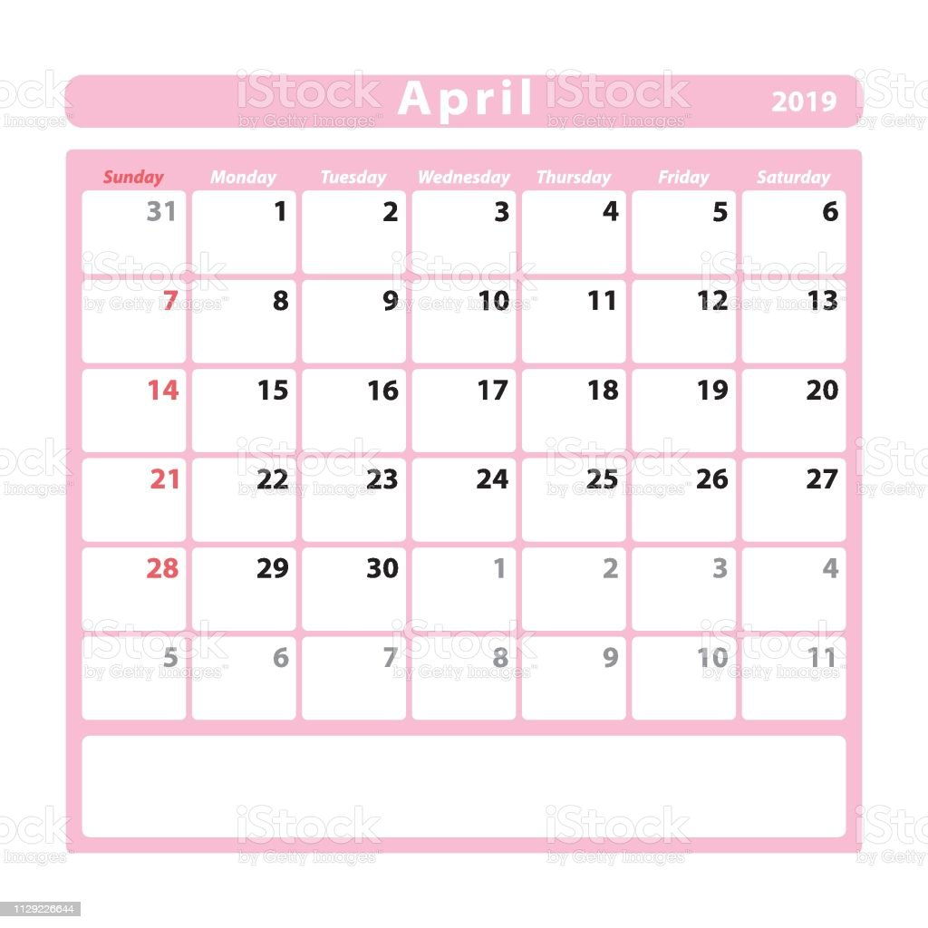 Calendario Rosa 2019.Calendar Sheet For The Month Of April 2019 Pink Colour Stock Illustration Download Image Now