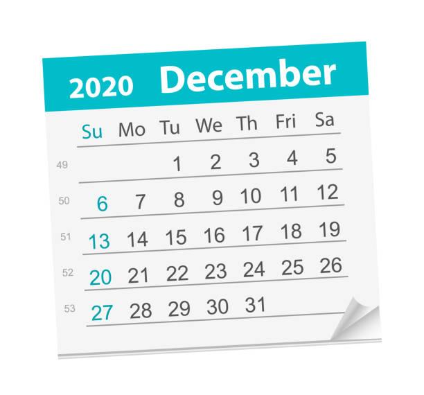 stockillustraties, clipart, cartoons en iconen met kalenderblad voor de maand december 2020. - december