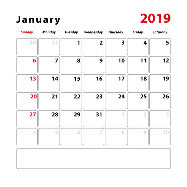 Calendar sheet for the month of January 2019 Calendar sheet for the month of January 2019, space for text notes. Vector illustration. january stock illustrations