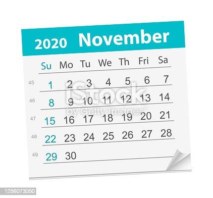 Calendar sheet for the month of November 2020. Vector Illustration. The week starts on Sunday