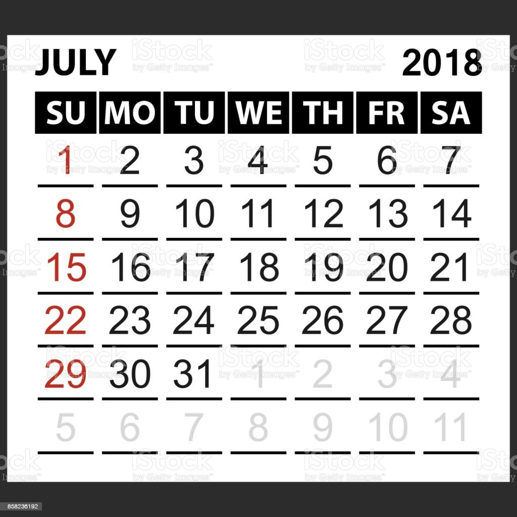 Kalenderblatt Juli 2018 Stock Vektor Art und mehr Bilder von 2018 ...
