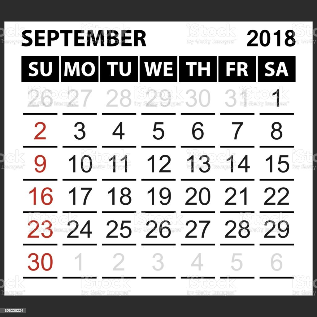 Calendar Sheet September 2018 Stock Illustration - Download