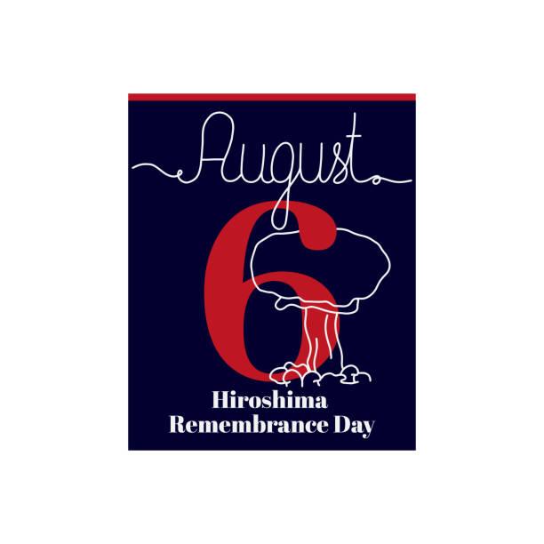 8月6日廣島紀念日主題的日曆表,向量插圖。 - hiroshima 幅插畫檔、美工圖案、卡通及圖標